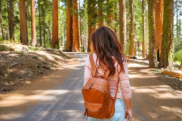Młoda kobieta spaceruje po malowniczym parku narodowym sequoia usa