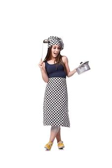 Młoda kobieta szefa kuchni kucharz odizolowywający na bielu