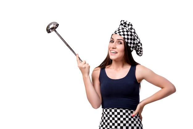 Młoda kobieta szefa kuchni kucharz odizolowywający