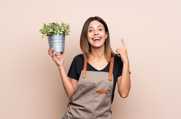 Młoda kobieta trzyma rośliny wskazuje w górę doskonałego pomysłu