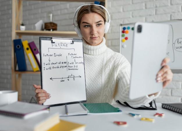 Młoda kobieta uczy dzieci lekcji angielskiego online