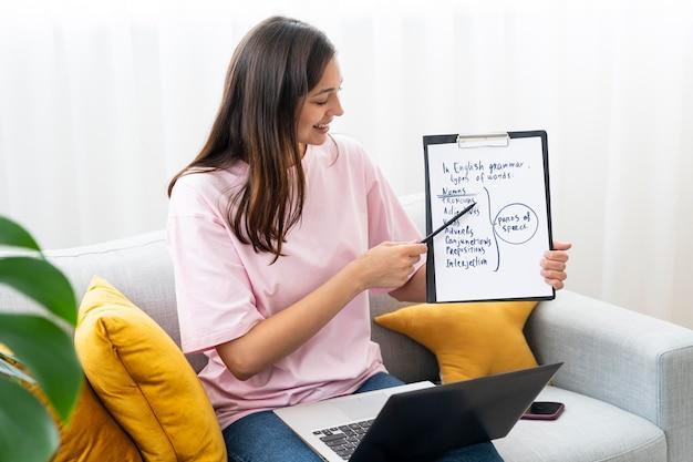 Młoda kobieta uczy lekcji angielskiego online