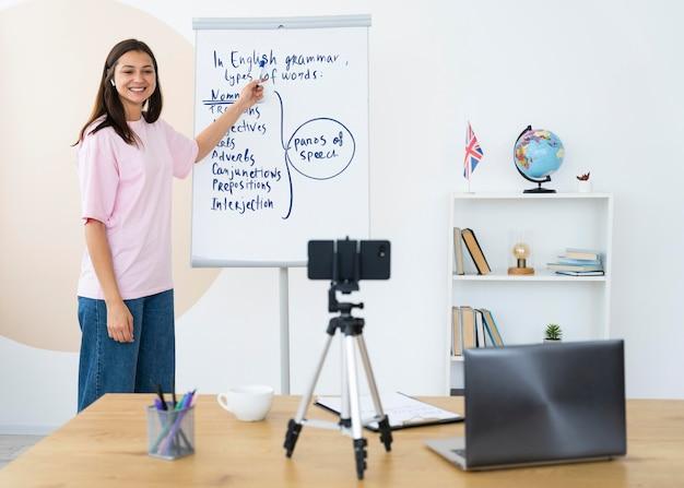 Młoda kobieta uczy lekcji angielskiego