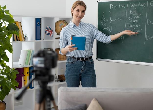 Młoda kobieta uczy studentów lekcji angielskiego online