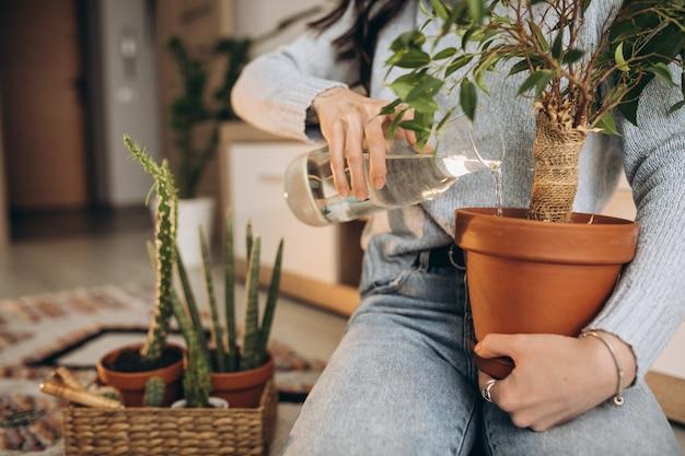 Młoda kobieta uprawia rośliny w domu