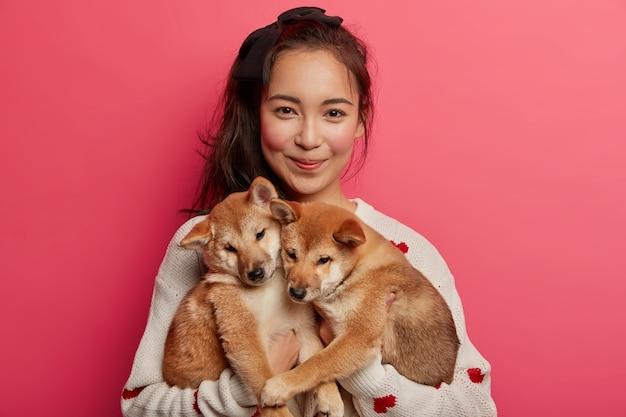 Młoda kobieta uwielbia psy, bawi się dwoma małymi szczeniaczkami shiba inu, uczy je wykonywania czynności, adoptowała miłe zwierzaki, idzie do weterynarza, odizolowana na różowym tle.