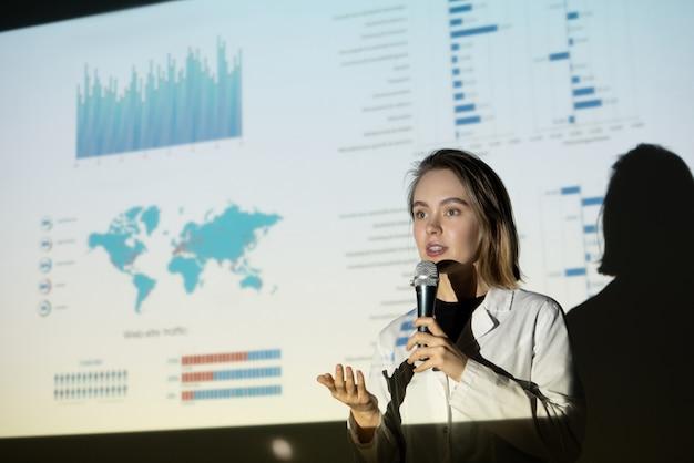 Młoda kobieta w fartuchu, wskazująca ręką i mówiąca do mikrofonu, jednocześnie przekonując inwestorów do znaczenia projektu