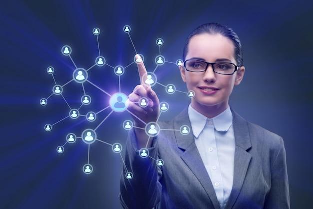 Młoda kobieta w koncepcjach sieci społecznych