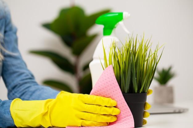 Młoda kobieta w rękawiczkach czyści biuro stół