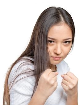 Młoda kobieta w walce stanowisko