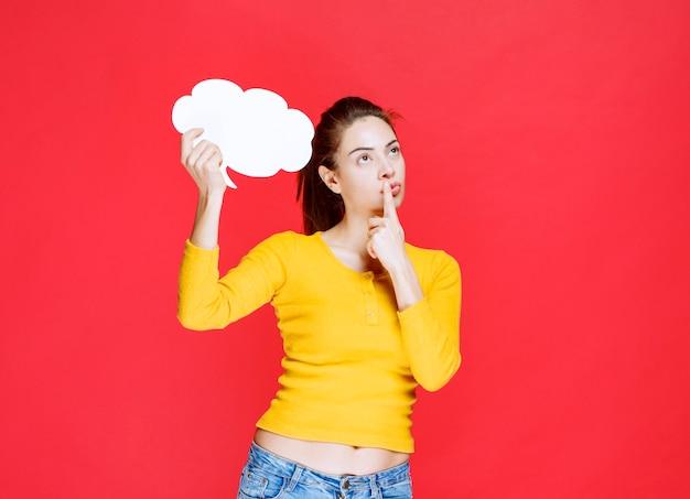 Młoda kobieta w żółtej koszuli trzyma tablicę informacyjną w kształcie chmury i wygląda na niepewną i zamyśloną