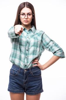 Młoda kobieta, wskazując na ciebie