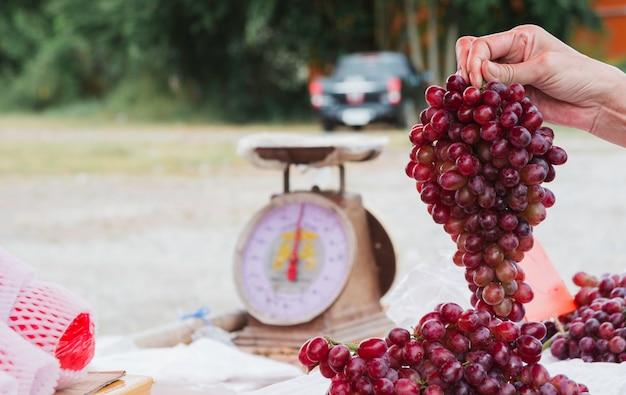 Młoda kobieta wybiera winogrona przy supermarketem. pojęcie zdrowego stylu życia.