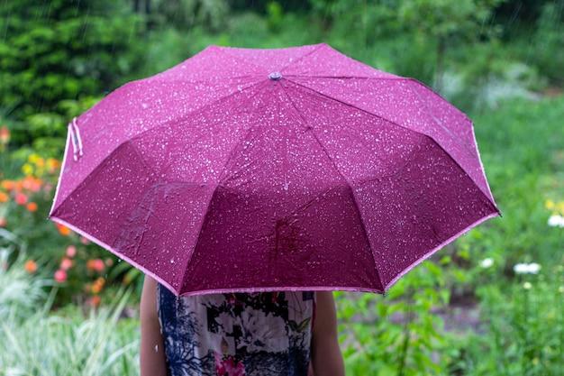 Młoda kobieta z fioletowym parasolem w parku na deszczowy letni dzień widok od tyłu