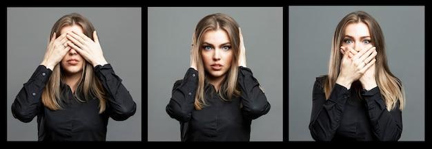 Młoda kobieta zakryła dłońmi oczy, usta i uszy. piękna blondynka w czarnej koszuli. kolaż, zestaw. szare tło. format panoramy.