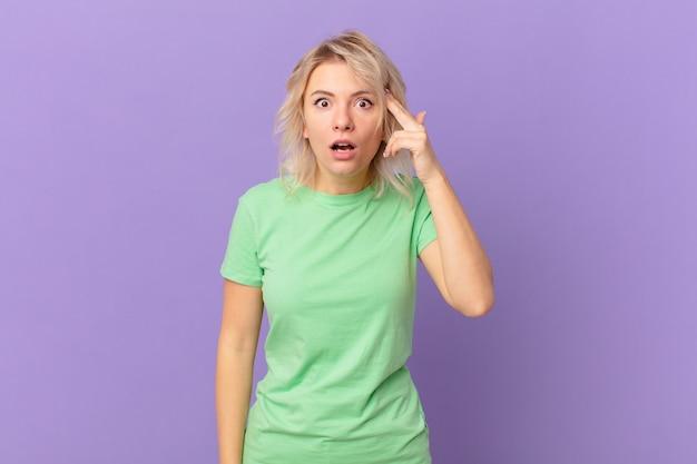 Młoda ładna kobieta wygląda na zaskoczoną, realizując nową myśl, pomysł lub koncepcję