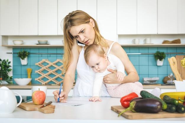 Młoda matka z córeczką w nowoczesnej kuchni. młoda atrakcyjna kobieta kucharz zdesperowana w stresie, zmęczona.