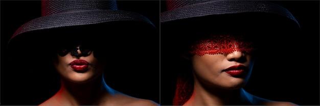 Młoda opalona skóra kobieta nosić hat lace zakrywa oczy czerwoną szminką sexy lips, dziewczyna czuje się bardzo gorąco kochankiem i tajemniczym spojrzeniem w punktowym oświetleniu czarnym tle. kolaż uczucie różnicy w grupie