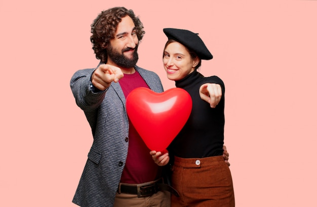 Młoda para świętuje walentynki. koncepcja miłości