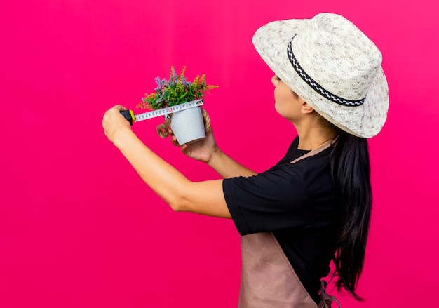 Młoda piękna kobieta ogrodnik w fartuch i kapelusz, trzymając doniczkową roślinę i środek taśmy pomiarowej z poważną twarzą stojącą nad różową ścianą