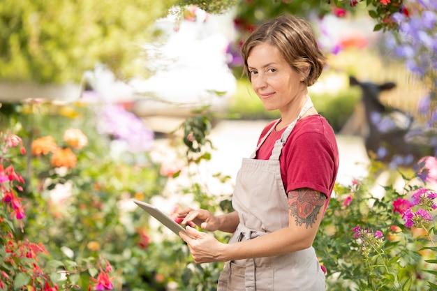 Młoda pozytywna sprzedawczyni kwiatów w fartuchu przewijana w tablecie w celu uzyskania informacji online o niektórych roślinach