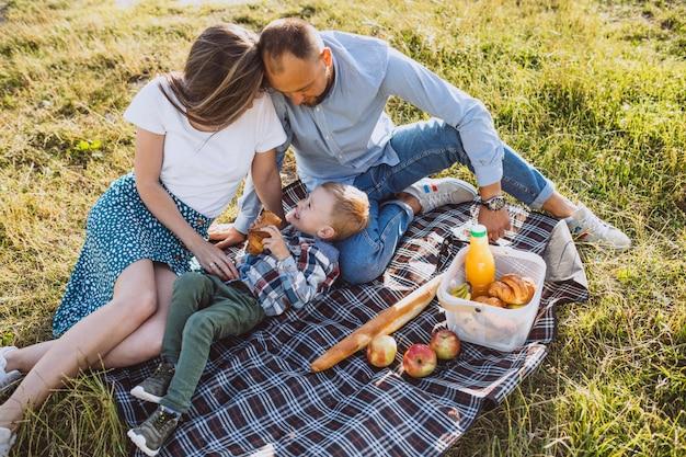 Młoda rodzina z małym synem ma pinkin w parku