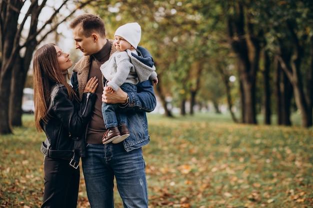 Młoda rodzina z synkiem w parku