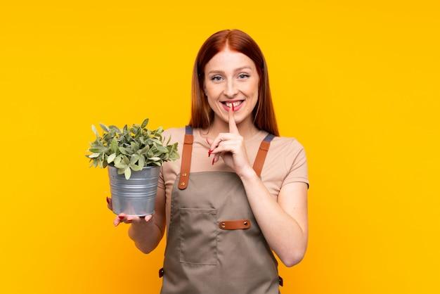 Młoda rudzielec ogrodniczki kobieta trzyma rośliny nad odosobnionym żółtym tłem robi cisza gestowi