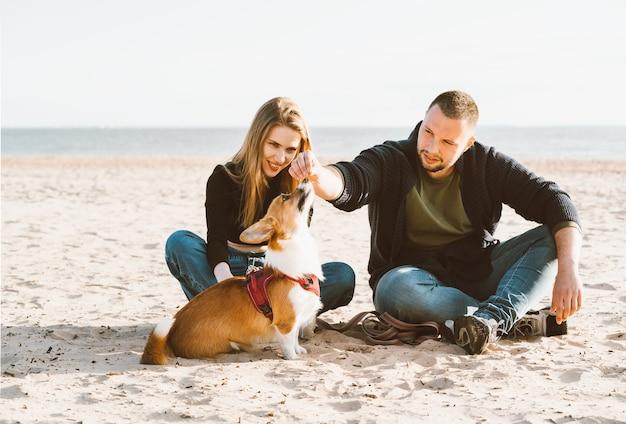 Młoda szczęśliwa para mężczyzny i kobiety z psem corgi siedzi na piasku. dwie osoby, piesek karmiący zwierzę