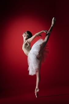 Młoda zgrabna tancerka baletowa lub klasyczne baleriny taniec w czerwonym studio. kaukaski model na pointach
