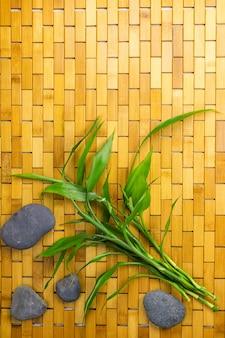 Młode pędy bambusa i czarne kamienie na drewnianym dywanie widok z góry kopia przestrzeń