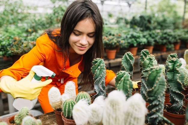 Młodej kobiety opryskiwania woda na kaktusowych roślinach