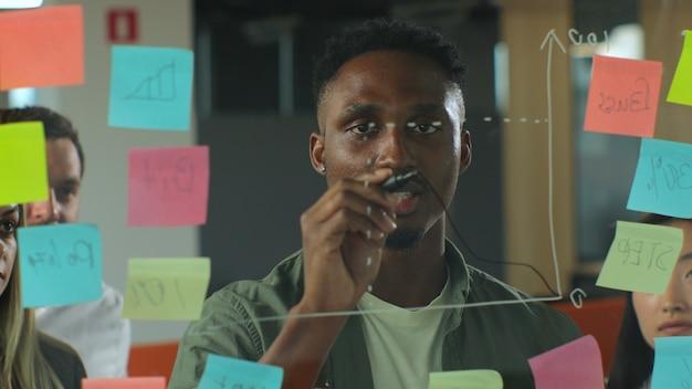 Młody afro amerykański mężczyzna w casualwear rysujący wykres biznesowy na szklanej desce z markerem i rozmawiający z zespołem współpracowników podczas nieformalnego spotkania w biurze