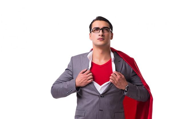 Młody biznesmen jest ubranym czerwieni pokrywę na bielu
