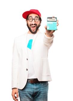 Młody biznesmen szalony z kalkulatora