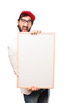 Młody biznesmen szalony z plakietką