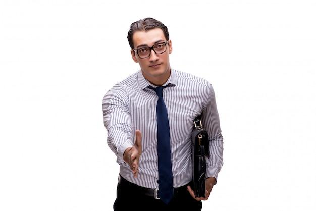 Młody biznesmen w biznesowym pojęciu odizolowywającym na bielu