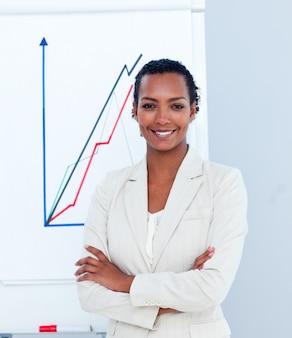 Młody bizneswoman daje prezentaci
