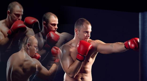 Młody bokser w czerwonych rękawiczkach bokserskich na czarnym tle. kolaż