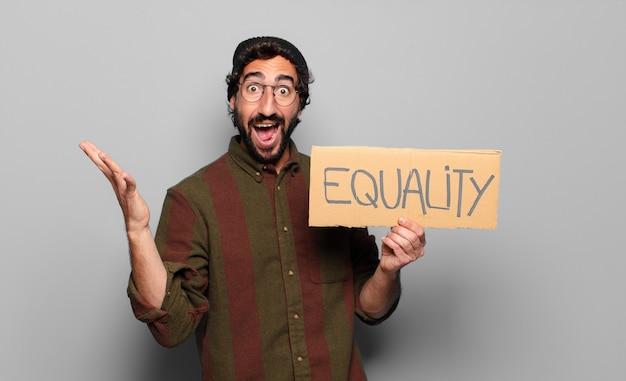 Młody brodaty mężczyzna koncepcja równości