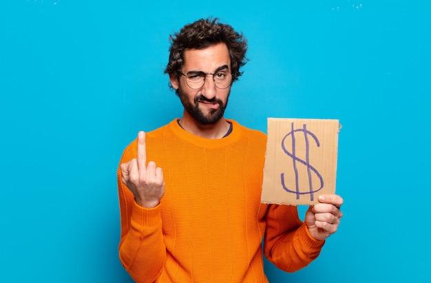 Młody brodaty mężczyzna z symbolem dolara