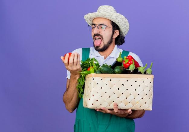 Młody brodaty ogrodnik mężczyzna ubrany w kombinezon i kapelusz trzymający skrzynię pełną warzyw patrząc na pomidora z zniesmaczoną miną stojącą nad niebieską ścianą