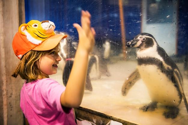 Młody caucasian dziewczyny dopatrywania pingwinu aqauarium przy zoo