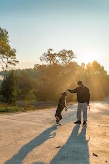 Młody człowiek bawi się ze swoim psem na łonie natury z promieniami porannego słońca kocham mojego psa