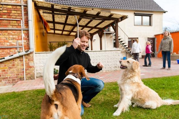 Młody człowiek bawić się z jego psami w ogródzie
