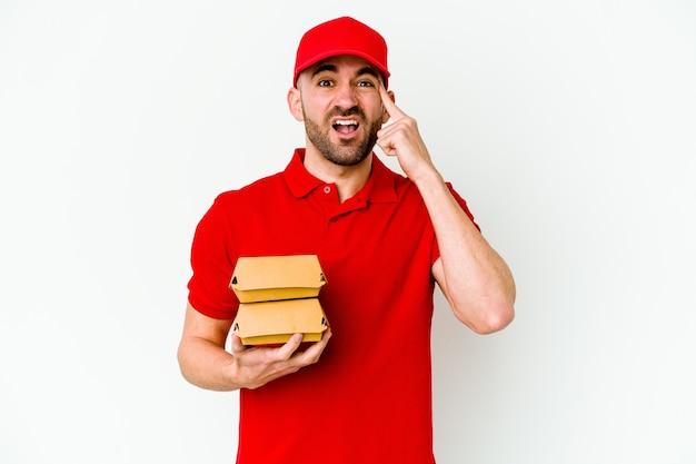 Młody człowiek kaukaski dostawy na białym tle na białej ścianie, pokazując gest rozczarowania palcem wskazującym.