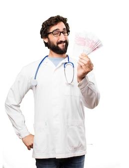 Młody człowiek lekarz z euro rachunki