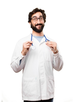 Młody człowiek lekarz ze stetoskopem