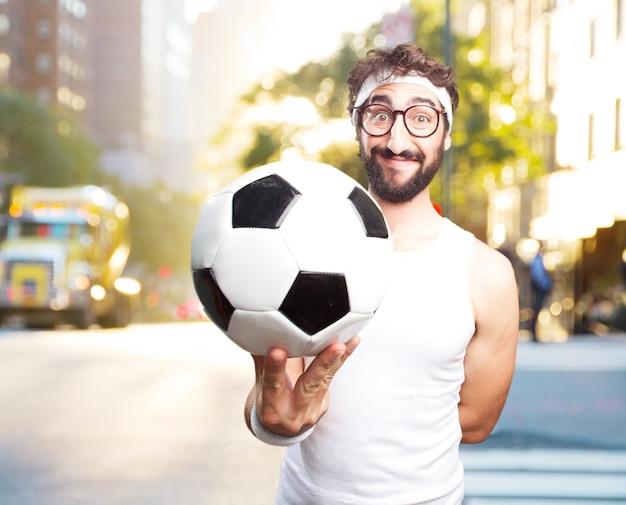Młody człowiek szalony sport. happy wypowiedzi