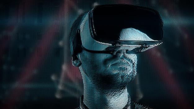 Młody człowiek z cyfrowymi zaburzeniami w okularach wirtualnej rzeczywistości